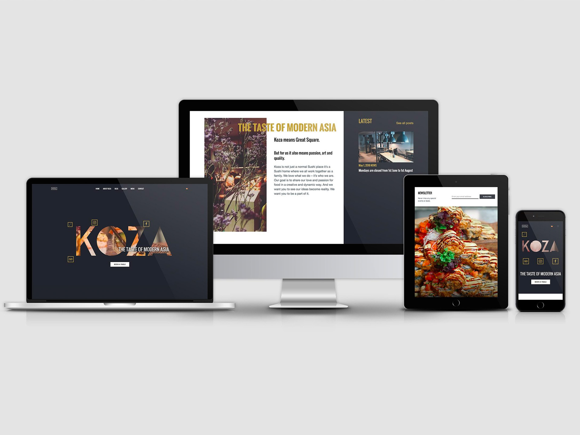 Homepage For a Fusion Restaurant