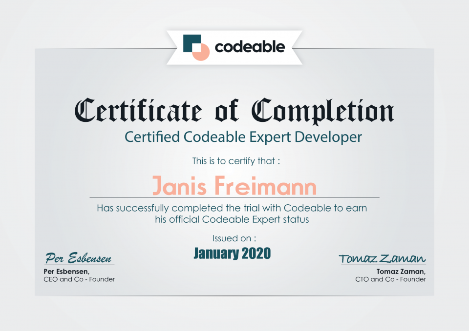 Codeable Certificate For Janis Freimann